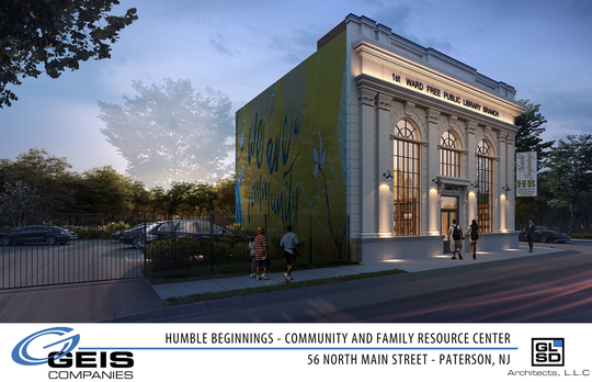 This rendering shows the proposed community center at 56 North Main Street, the former 1st Ward Free Public Library Branch in Paterson.