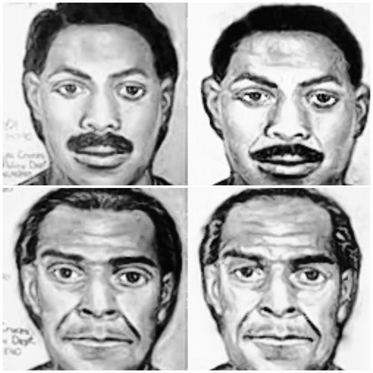 A sketch of what the suspects in the Las Cruces bowling alley massacre may have looked like in 1990 and what they may have looked like in 2015.
