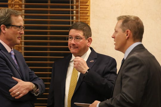 (left to right) Deputy Manager of the U.S. Department of Energy's Carlsbad Field Office Kirk Lachman, CBFO Acting Manger Greg Sosson and President of Nuclear Waste Partnership Sean Dunagan attend the annual WIPP Legislative Breakfast, Feb. 3, 2020 at the Hotel Santa Fe.