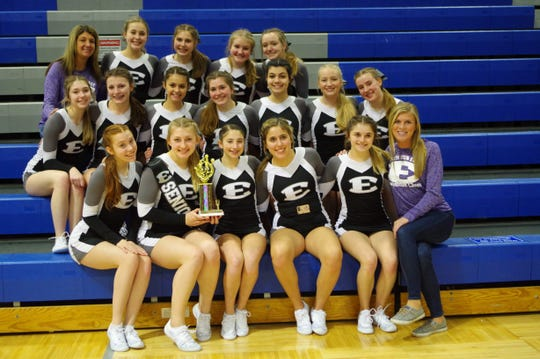 The South Lyon East competitive cheer team finished in first place at the Lakeland Invite on Feb. 1.