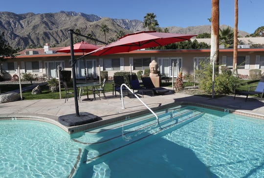 The pool area has views of the nearby mountains at the Tuscany Manor resort in Palm Springs, January 27, 2020.