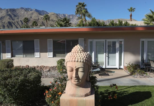 A Buddha figure at the Tuscany Manor resort in Palm Springs, January 27, 2020.