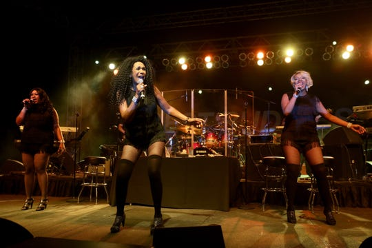 SAN SIMEON, CA - SEPTEMBER 12:  (L-R) Singers Issa Pointer Ruth Pointer and Sadako Pointer of The Pointer Sisters perform onstage at the Hearst Ranch Barbeque, Celebration and Concert during the Best Buddies Hearst Castle Challenge at Hearst Ranch on September 12, 2015 in San Simeon, California.  (Photo by Mark Davis/Getty Images)