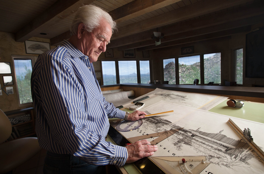 Gerry Jones, who built the first home in Carefree, is in his nineties and is still designing homes. His work will be featured on the Gerry Jones Home Tour on Sunday, March 8.