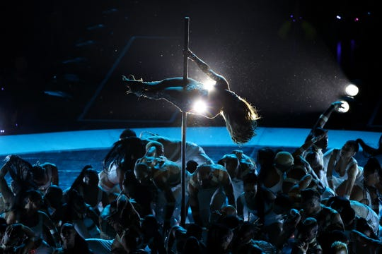 Jennifer Lopez performs during the halftime show at the Super Bowl between the San Francisco 49ers and the Kansas City Chiefs on Sunday,  Feb. 2, 2020, in Miami Gardens, Florida.