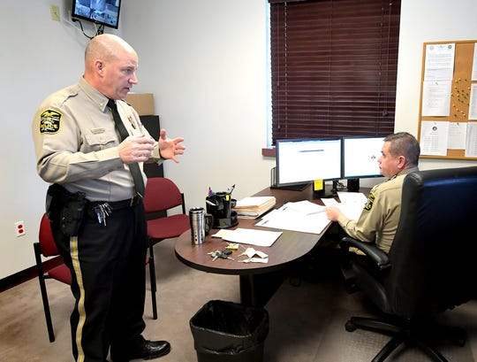 Northern York County Regional Police Chief Dave Lash, left, talks with Lt. John Migatulski at the former Southwestern Regional police station Monday, Feb. 3, 2020. It was the Northern Regional's first day of operation at the station. Migatulski is on the command staff at the facility. Bill Kalina photo