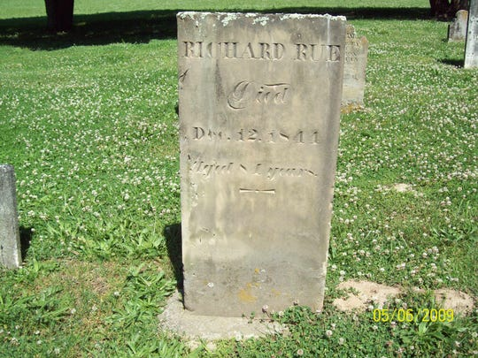 Richard Rue was a Revolutionary War veteran and one of the first pioneers of European extract to settle permanently in Wayne County. Fistfights broke out at his election for Justice of the Peace, and one of the reasons he was elected was to stop fistfights. Rue is buried in the Elkhorn cemetery, the oldest in the county. His gravesite, along with other Revolutionary War veterans buried in Wayne County, can be viewed on the Morrisson-Reeves Library website by clicking on the 'Honoring Wayne County Revolutionary War Patriots' icon at www.mrlinfo.org.