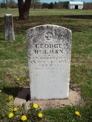 The gravesite of Revolutionary War veteran George Holman can be viewed on the Morrisson-Reeves Library website by clicking on the 'Honoring Wayne County Revolutionary War Patriots' icon at www.mrlinfo.org.