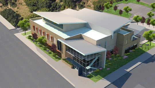 This is a preliminary rendition of a new two-story structure proposed by the Shasta Community Health Center.