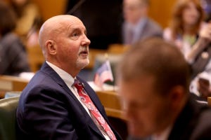 Rep. Bill Post, R-Keizer, on the first day of the short legislative session at the Oregon State Capitol in Salem on Feb. 3, 2020.