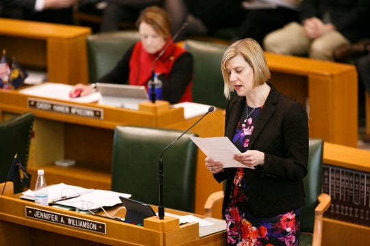 Rep. Jennifer Williamson, D-Portland, speaks as lawmakers work to close out the short legislative session on March 3, 2018.
