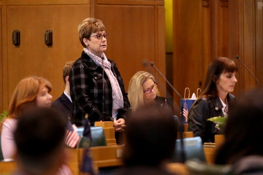 Rep. Sherrie Sprenger, R-Scio, speaks on the first day of the short legislative session at the Oregon State Capitol in Salem on Feb. 3, 2020.