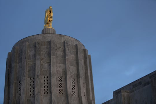 The Oregon State Capitol on the first day of the short legislative session in Salem on Feb. 3, 2020.