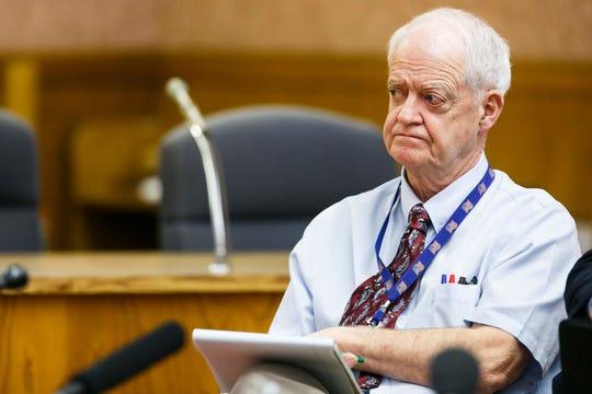 Senate President Peter Courtney, D-Salem, listens as Senate Republican Leader Ted Ferrioli speaks about plans for the upcoming legislative session on Jan. 26., 2017.
