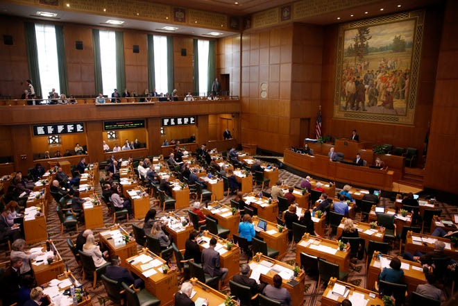 The House of Representatives convenes on the first day of the short legislative session at the Oregon State Capitol in Salem on Feb. 3, 2020.