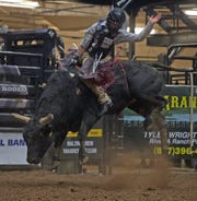 Aaron Williams competes in the Xtreme Bulls event at the San Angelo Stock Show and Rodeo on Sunday, Feb. 2, 2020.