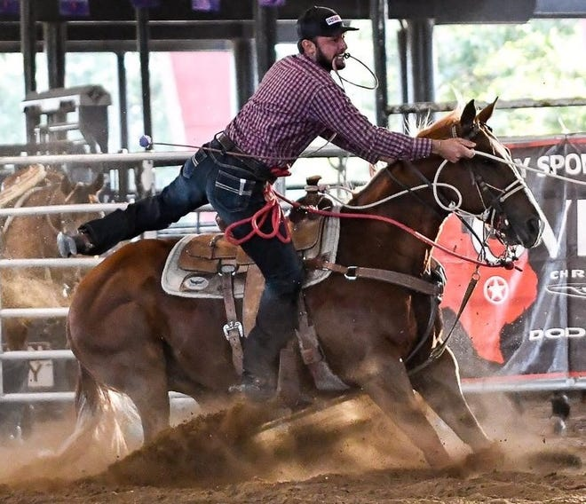 Brazilian calf roper George Viera, who now lives in San Angelo, is competing in the slack in tie-down roping this week at the San Angelo Stock Show & Rodeo.