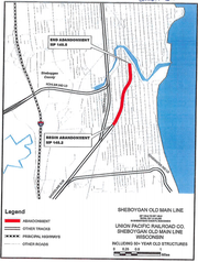 City documents show a map of the unused railroad tracks Union Pacific Railroad Company plans to abandon and the city plans to buy and convert into a bike trail.