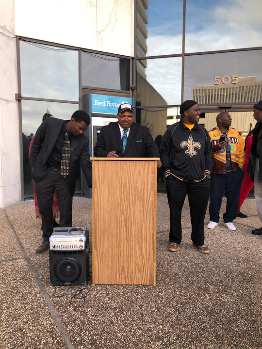 Rev. Linus Mayes holds a press conference Monday morning.