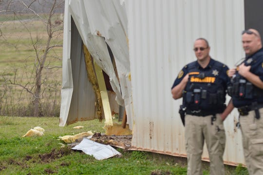 Law enforcement officers are on the scene of where a police chase ended Monday on Caspiana Levee Road. The vehicle driven by suspects crashed into a Caddo Parish fire station.