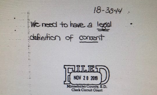 A Minnehaha County jury asked Judge Bradley Zell for the legal definition of consent while deliberating a sexual assault case in November 2019.