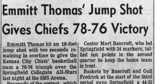 The Kansas Chiefs basketball team did, in fact, play a contingent of Springfield college senior all-stars.  The Chiefs won in overtime on March 19, 1969.