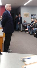 U.S. Rep. Tom Emmer, R-Delano, listened during a town hall Friday, Jan. 31, 2020, at the Zimmerman City Hall in Zimmerman, Minnesota.