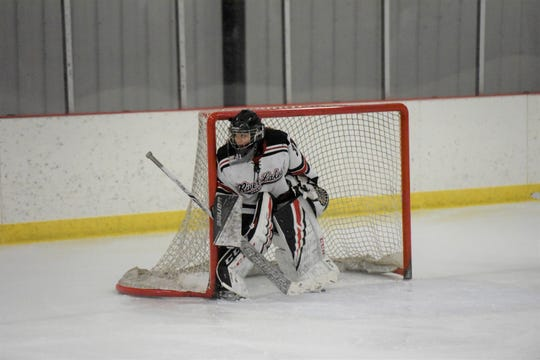 Seventh grade goalie Kaydence Roeske has been starting for the River Lakes girls' hockey team throughout the season. Roeske said it's been a growing year for her, but she's learned so much to prepare her for future years on varsity.