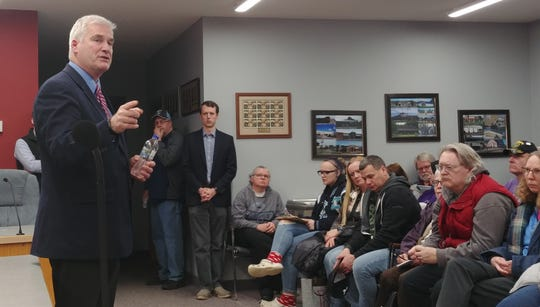 Minnesota Republican U.S. Rep. Tom Emmer met with constituents at a town hall Friday, Jan. 31, 2020, at the Zimmerman City Hall in Zimmerman, Minnesota.
