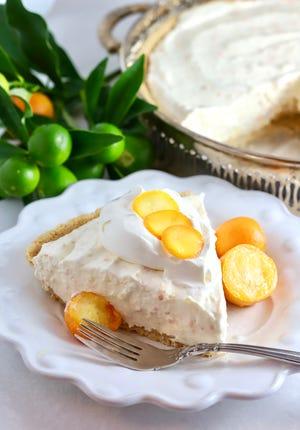 Kumquat pie tastes a little like a cross between a key lime pie and a lemon meringue pie.