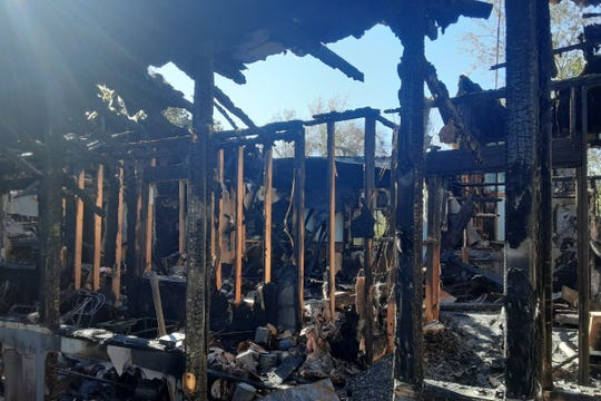 The interior of Larry Smith's home is charred after a fire destroyed the home early Sunday morning.