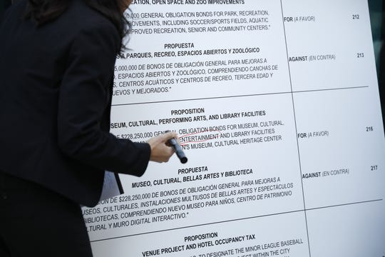 """Verónica Carbajal circles the word """"entertainment"""" on a printout of the 2012 Quality of Life Bond ballot language Monday, Feb. 3, 2020."""