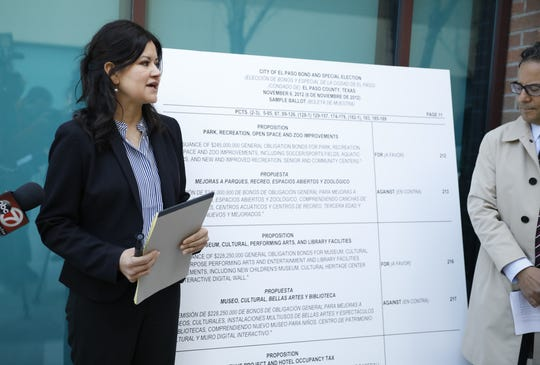 Verónica Carbajal, a Texas RioGrande Legal Aid attorney who represents residents in Union Plaza neighborhood, says Monday, Feb. 3, 2020, the city's ballot language for the $180 million multipurpose performing arts and entertainment center did not include sports.