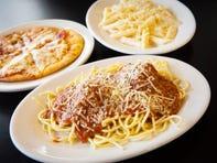 Spaghetti and meatballs, pepperoni pizza and fettuccini alfredo from Villa Frosi.