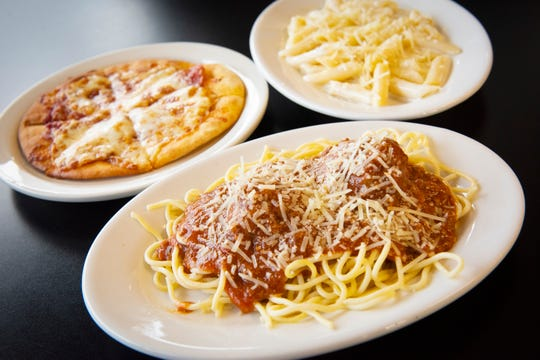 Spaghetti and meatballs, pepperoni pizza and fettuccini alfredo from Villa Frosi.