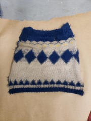 Police said a dead dog found in the woods off Kates Boulevard was wearing this sweater.
