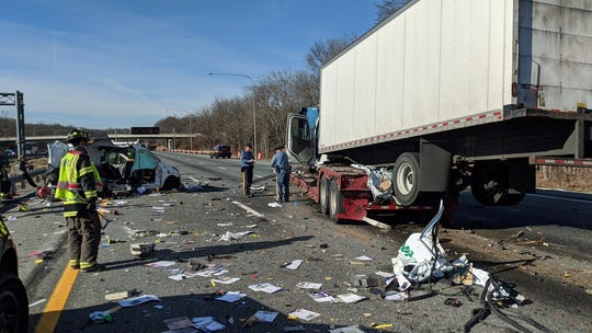 One person is in critical condition, another is in serious conditionand a third person is stable following a bad crash onInterstate 95 south nearthe Newark Toll Plaza Monday morning.