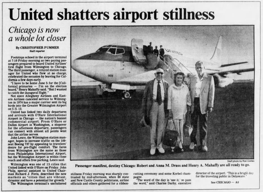 A News Journal article reports on the first United flight from Wilmington in June 1984.