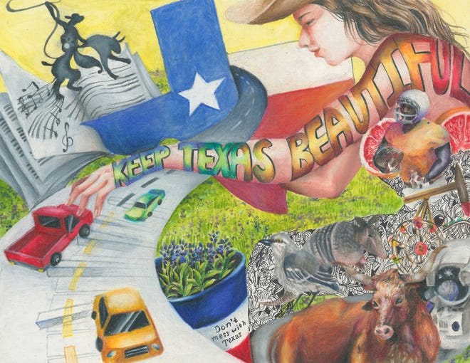One of winning art pieces by Nahyun Kim from 2019's Don't mess with Texas K-12 art contest. This year's contest will chose 14 winners whose designs will be featured in the DMWT 2021 calendar. There will also be a scholarship contest for graduating seniors.