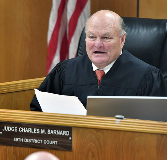89th District Court Judge Charles Barnard addresses potential jurors in the trial of Christopher Wayne Morriss in this Feb. 3, 2020, file photo.