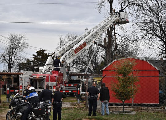 The Wichita Falls Fire Department conducted a rescue about 11:00 Monday morning in the 1500 block of Austin Street where a man trimming branches from a large tree experienced a severe head trauma. The man was pronounced dead on the scene.