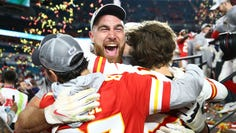 Kansas City Chiefs tight end Travis Kelce (87) celebrates after defeating the San Francisco 49ers in Super Bowl LIV at Hard Rock Stadium.