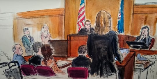 In courtroom sketch, accuser Jessica Mann weeps as she testifies at the Harvey Weinstein sex-crimes trial, Jan. 31, 2020, in New York.