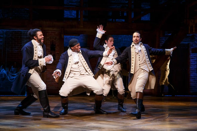 "Original Broadway cast members Daveed Diggs (from left), Okieriete Onaodowan, Anthony Ramos and Lin-Manuel Miranda star in the filmed version of ""Hamilton"" coming to Disney Plus this summer."