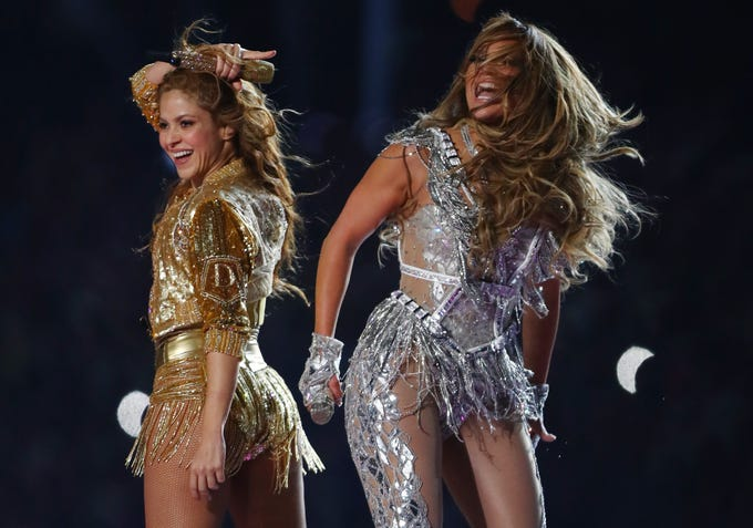Shakira (left) and Jennifer Lopez perform at halftime in Super Bowl LIV between the Kansas City Chiefs and San Francisco 49ers at Hard Rock Stadium on Feb. 2, 2020.