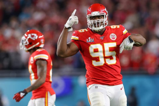 Chris Jones, of the Kansas City Chiefs, reacts during the game against the San Francisco 49ers in Super Bowl LIV at Hard Rock Stadium on February 2, 2020 in Miami, Florida.