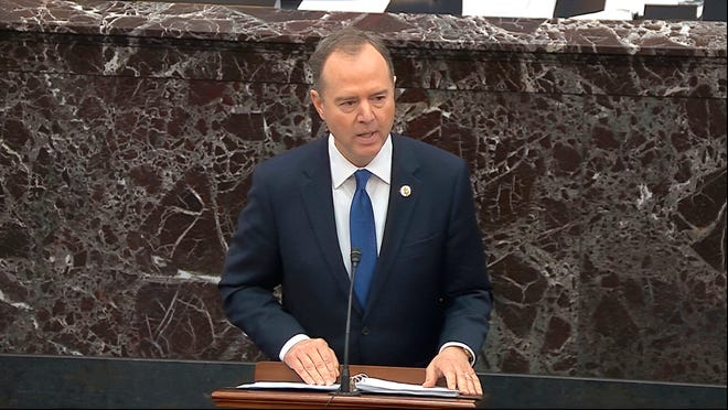 Lead House impeachment manager Rep. Adam Schiff, D-Calif., speaks during closing arguments in the impeachment trial against President Donald Trump on Monday.