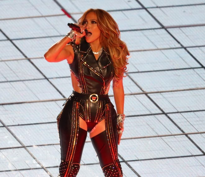 Jennifer Lopez performs during the Super Bowl halftime show.