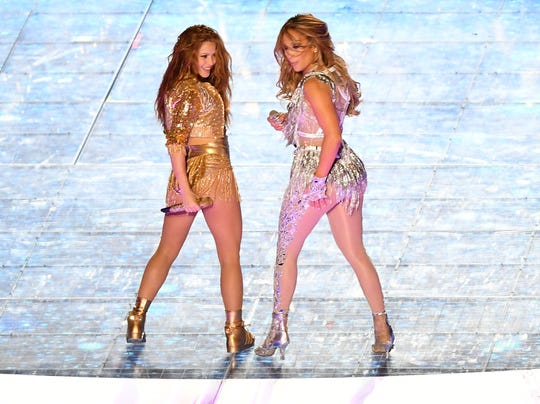 Shakira and Jennifer Lopez perform during the halftime show at Super Bowl LIV.