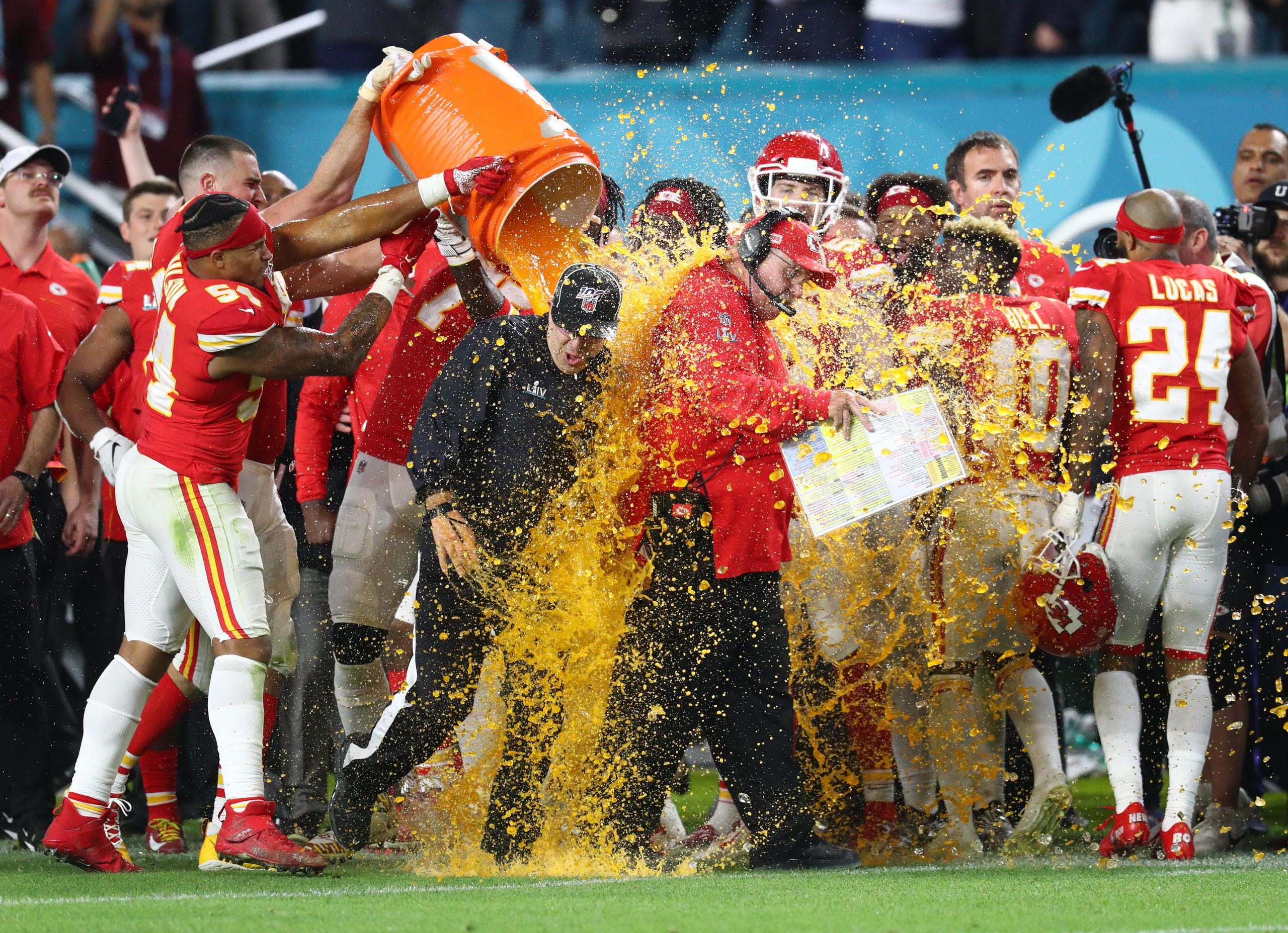 Kansas City head coach Andy Reid is dunked with Gatorade by his players after the Chiefs won their first Super Bowl in 50 years.